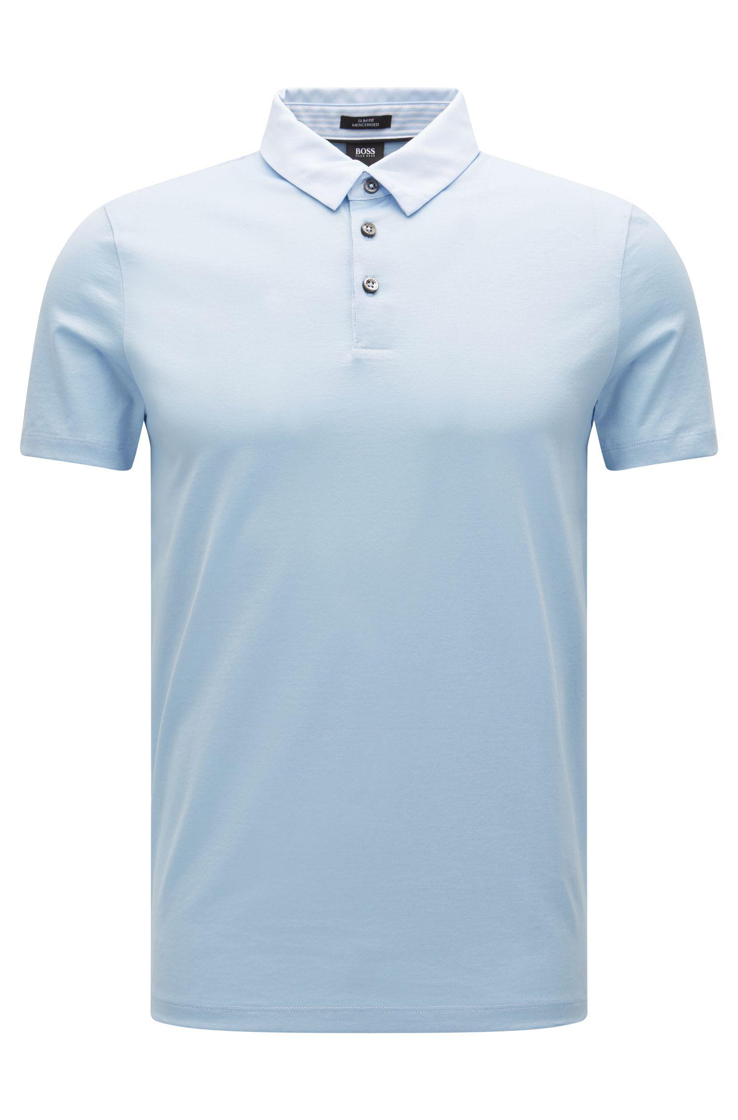 Slim-Fit Poloshirt aus merzerisierter Baumwolle mit Webstoff-Details