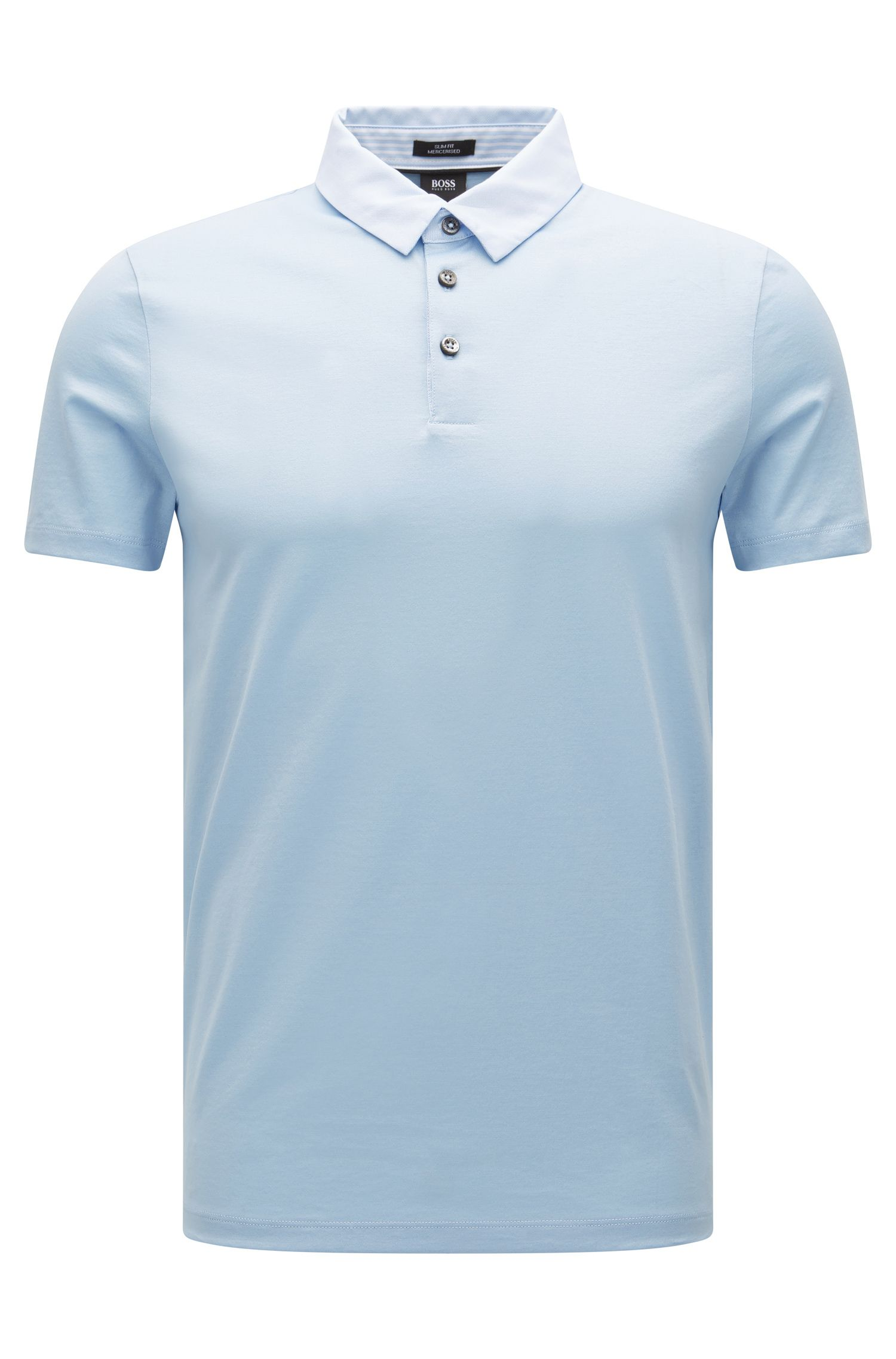 Slim-fit mercerised cotton polo shirt with woven details
