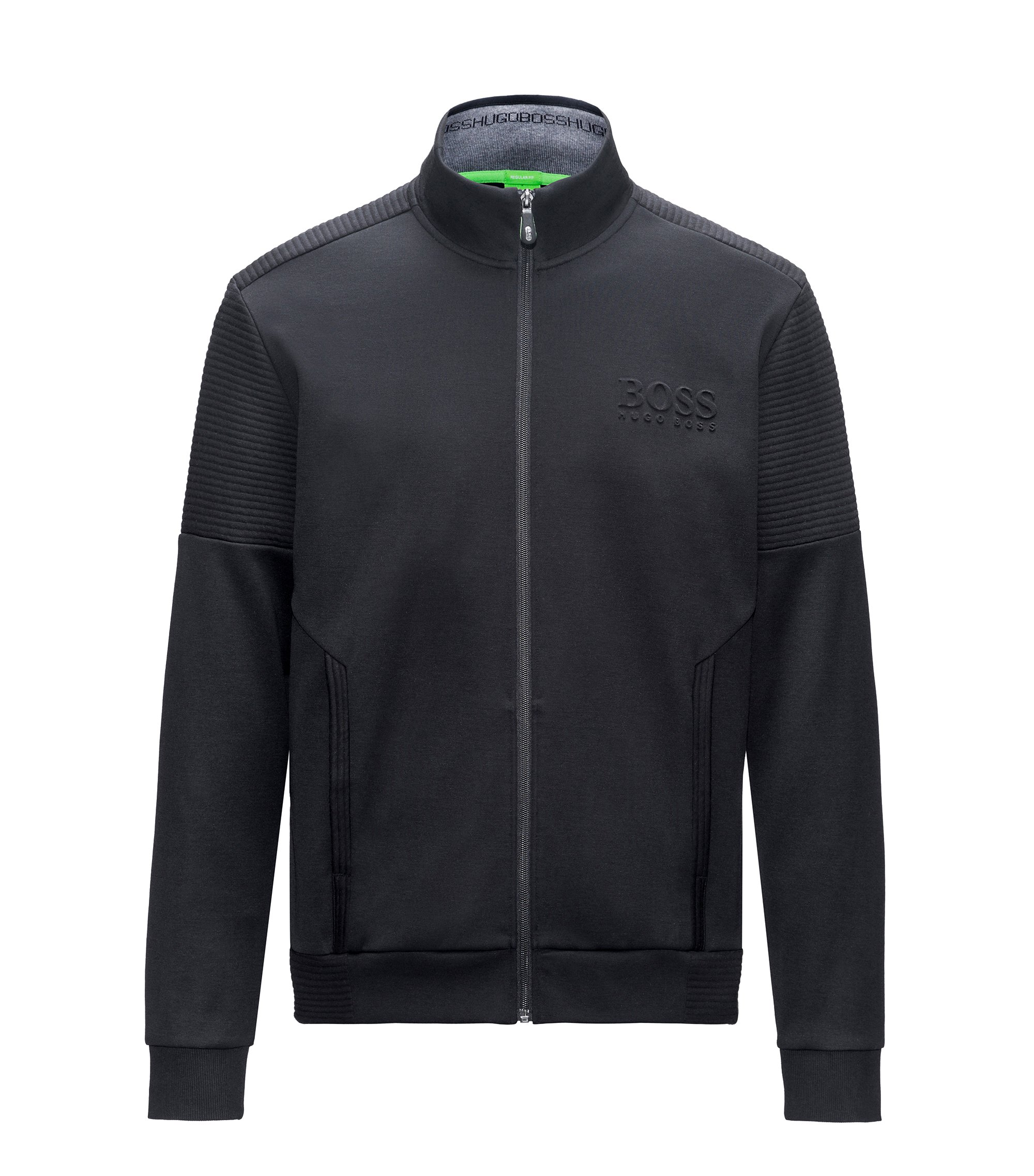 Sweat zippé Regular Fit en tissu double face, Noir