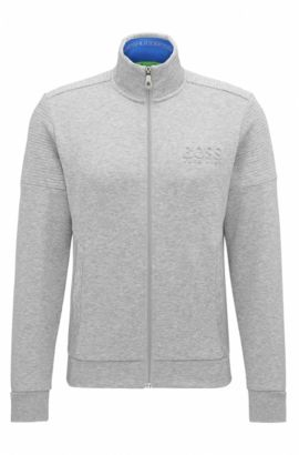 Sweat zippé Regular Fit en tissu double face, Gris chiné