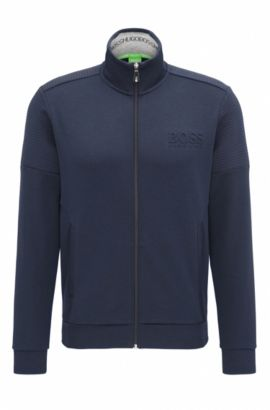 Regular-fit sweatshirt in double-face fabric, Dark Blue