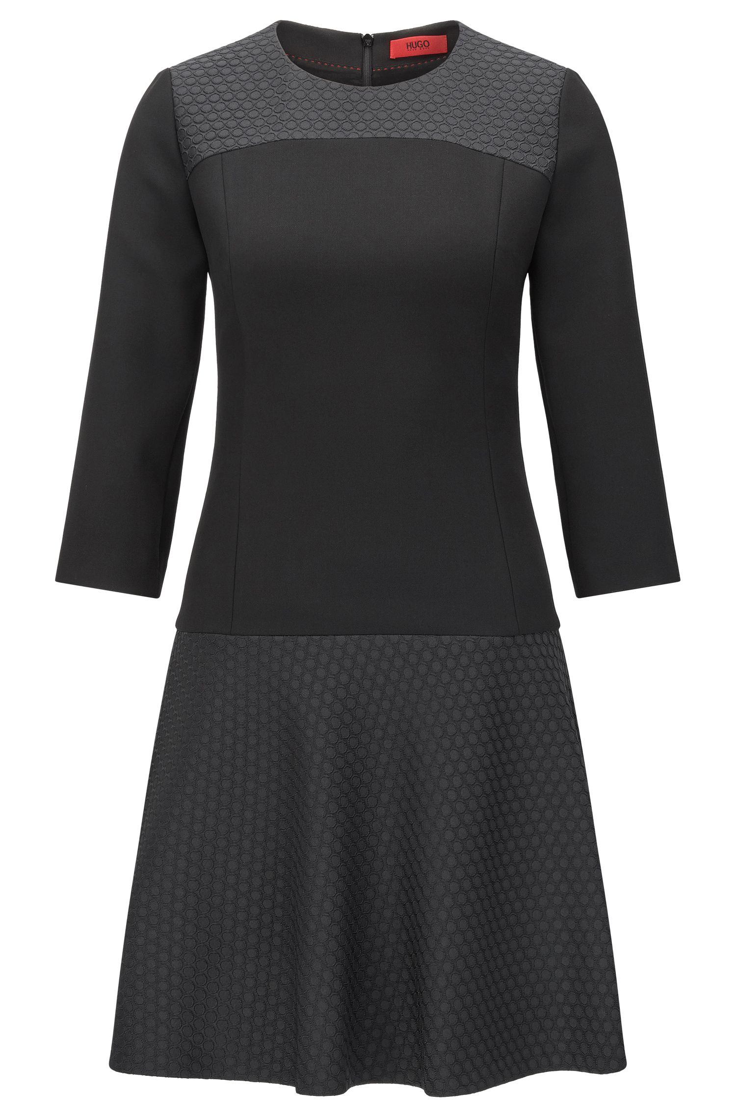 Fitted dress in texture mix: 'Katanka-1'