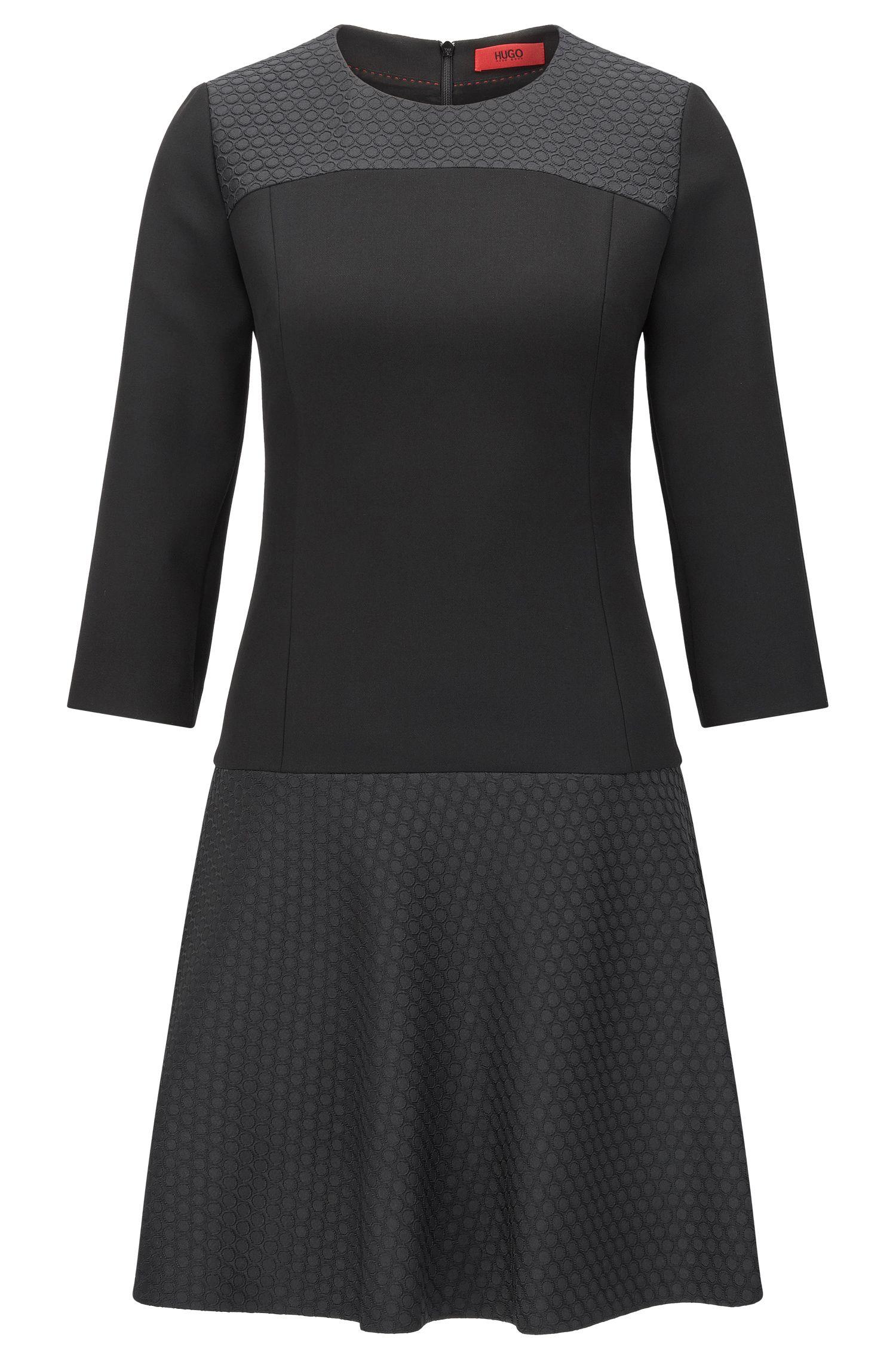 Tailliertes Kleid im Struktur-Mix: 'Katanka-1'