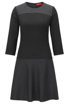 Fitted dress in texture mix: 'Katanka-1', Black