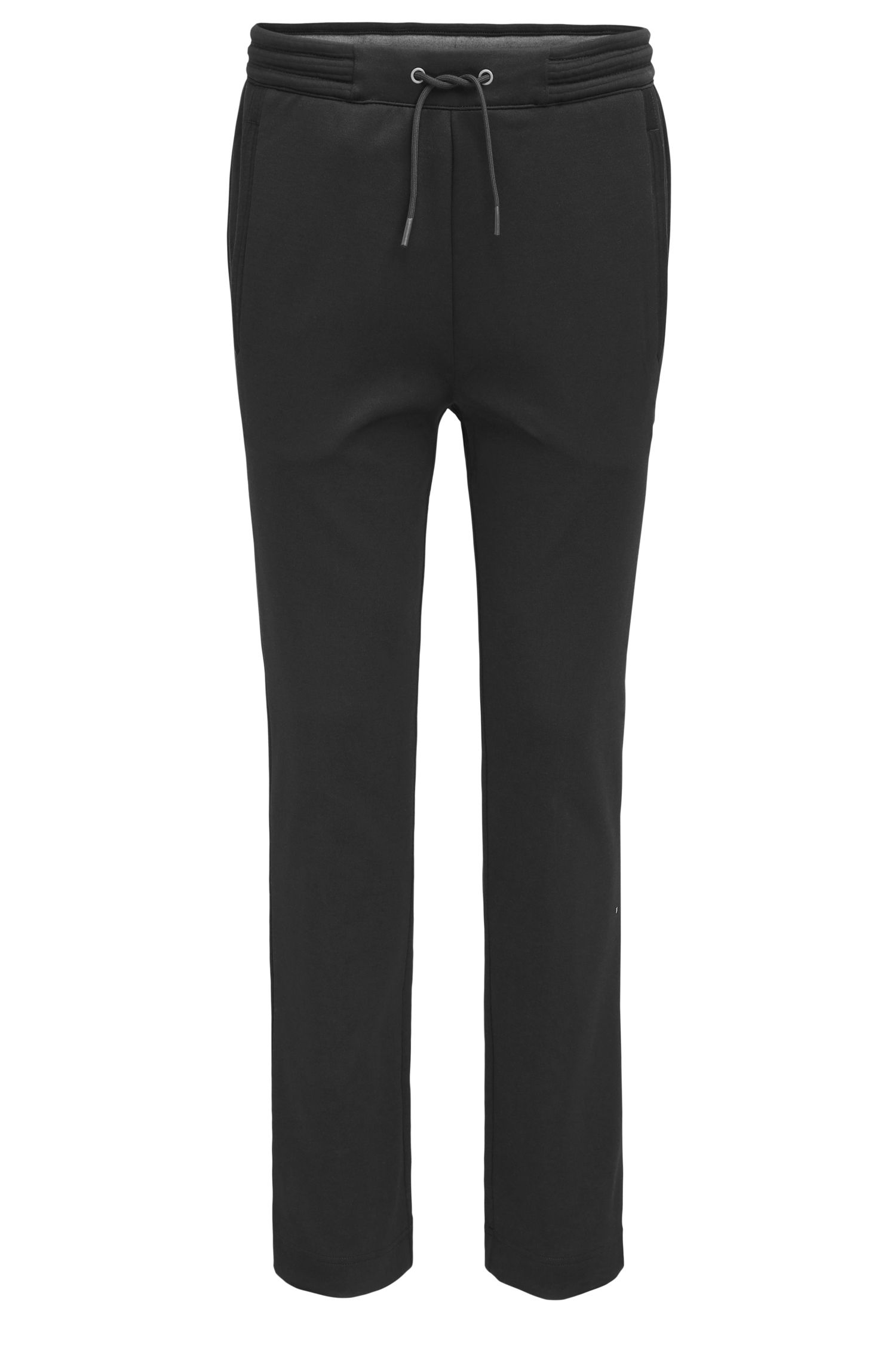 Regular-fit cotton trousers with open hems