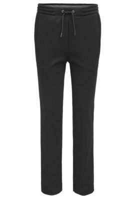Regular-fit cotton trousers with open hems, Black