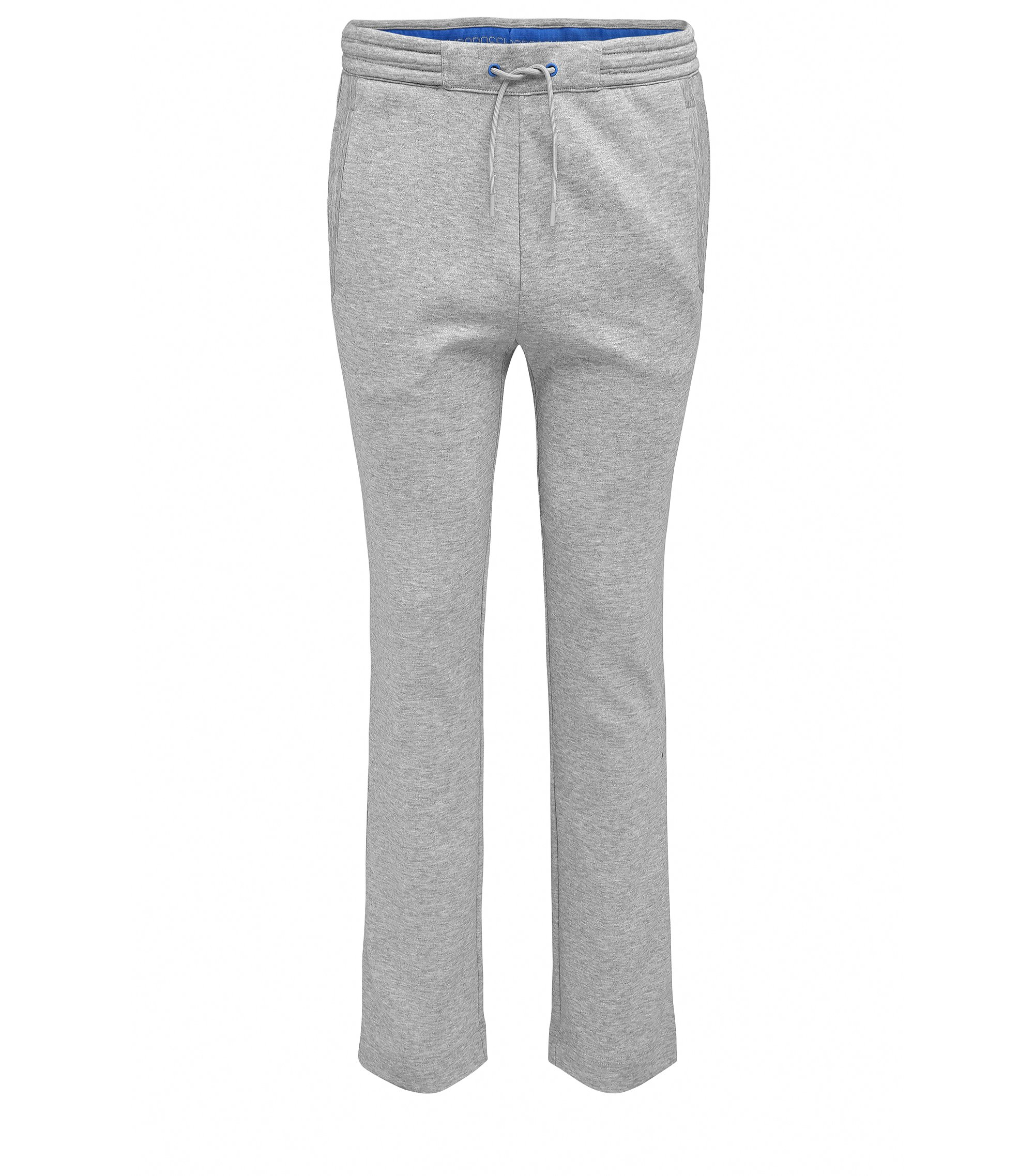 Pantalon en coton Regular Fit, aux finitions droites sans bordures au bas des jambes, Gris chiné