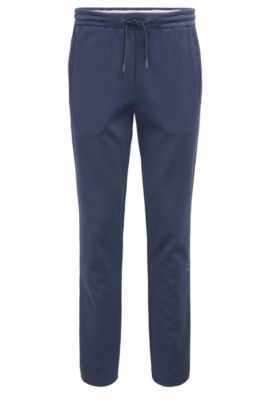 Regular-fit cotton trousers with open hems, Dark Blue