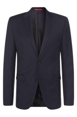 Veste de costume Slim Fit en laine vierge finement structurée: «Astian», Bleu foncé