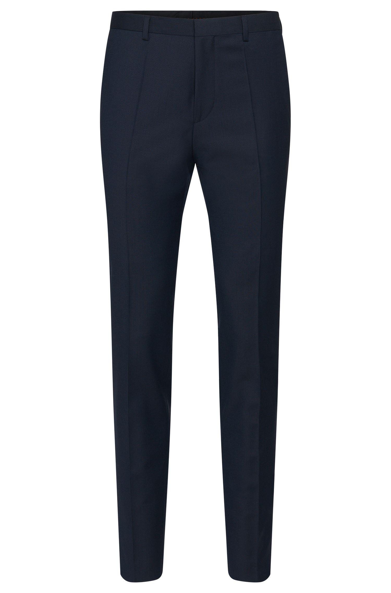 Pantalon Slim Fit structuré en laine vierge: «Hets»