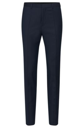 Pantalón slim fit en lana virgen con textura: 'Hets', Azul oscuro