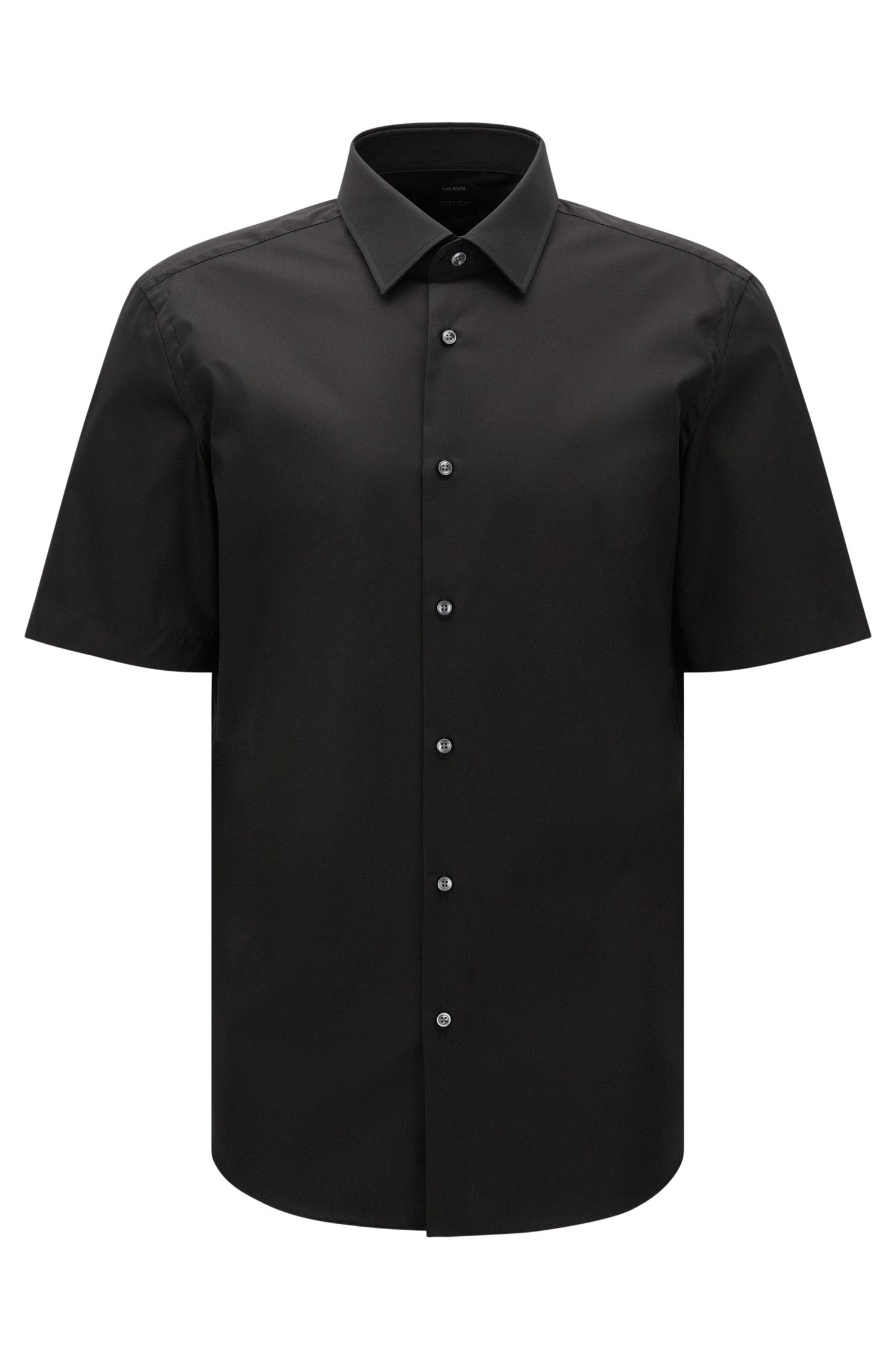Camicia a maniche corte regular fit in cotone facile da stirare: 'Cinzio'