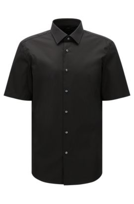 Regular-fit short-sleeved shirt in easy-iron cotton: 'Cinzio', Black