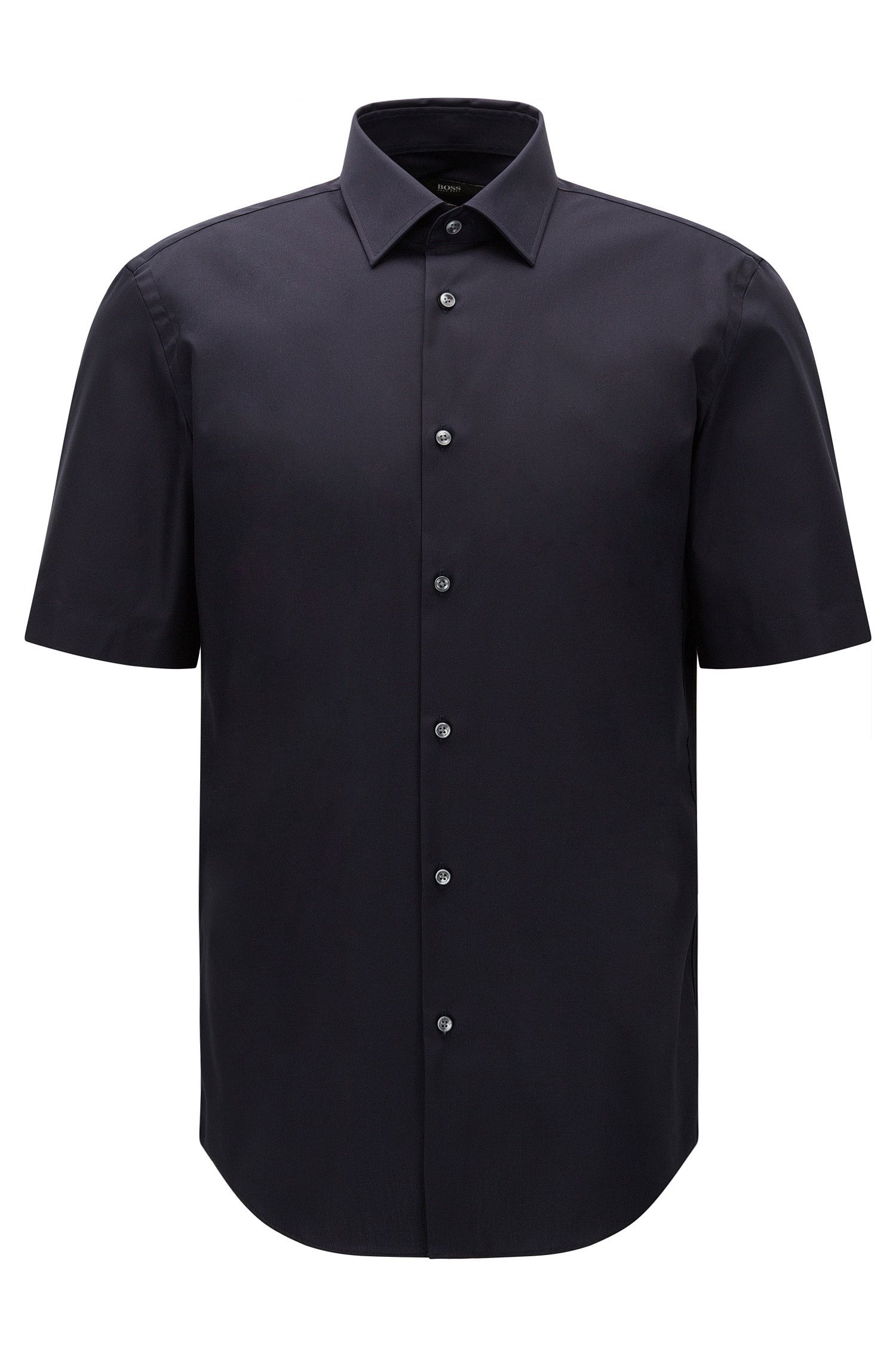 Regular-fit short-sleeved shirt in easy-iron cotton: 'Cinzio'
