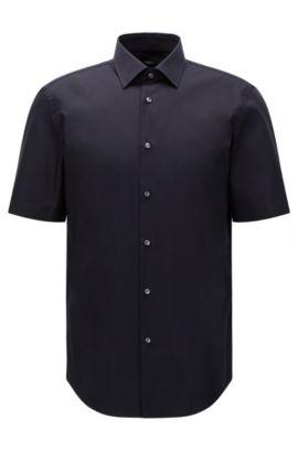 Camicia a maniche corte regular fit in cotone facile da stirare: 'Cinzio', Blu scuro