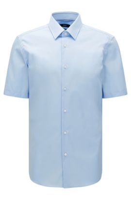 Regular-fit short-sleeved shirt in easy-iron cotton: 'Cinzio', Light Blue