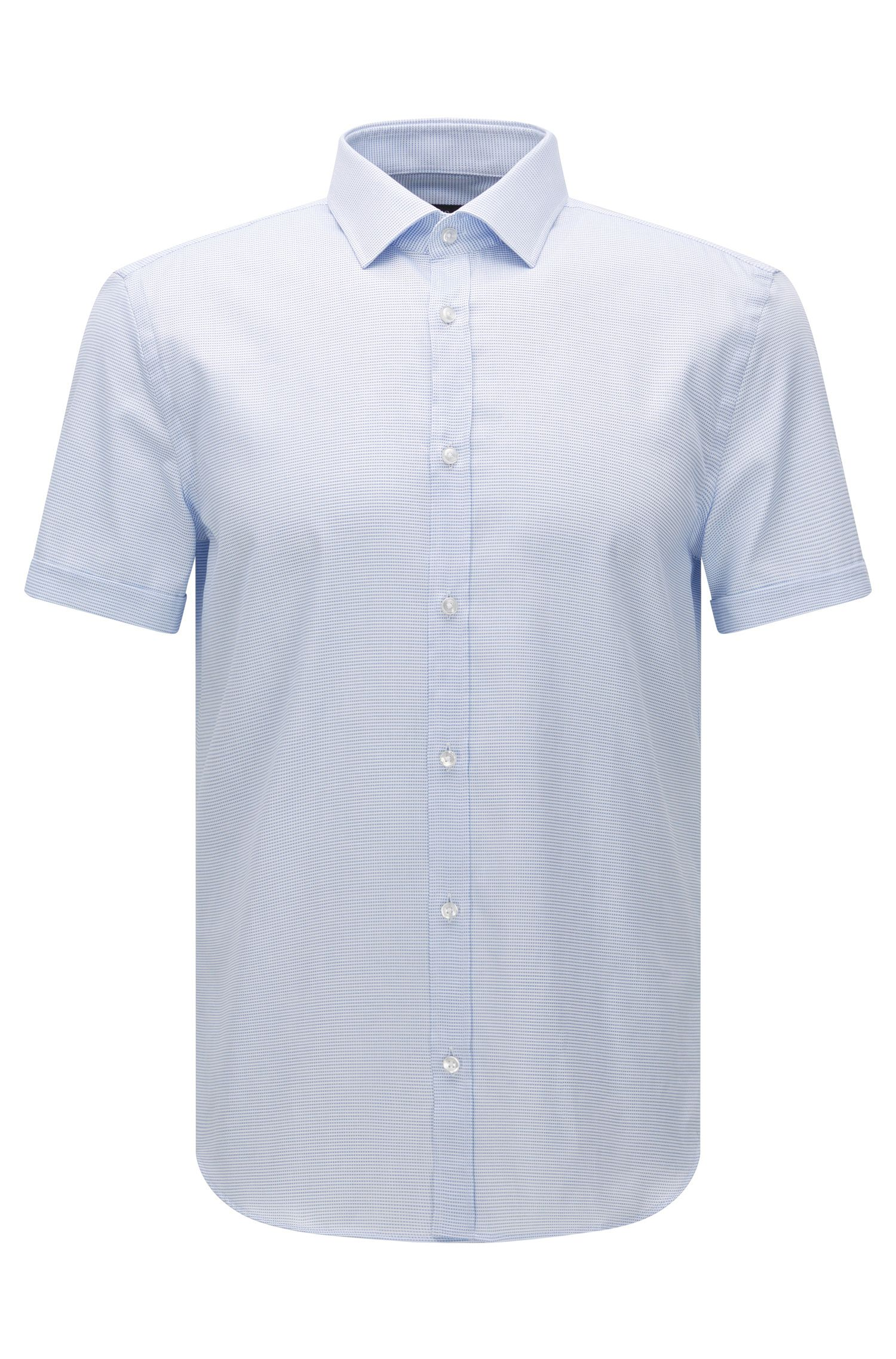 Slim-fit short-sleeved shirt in textured cotton: 'Jats'
