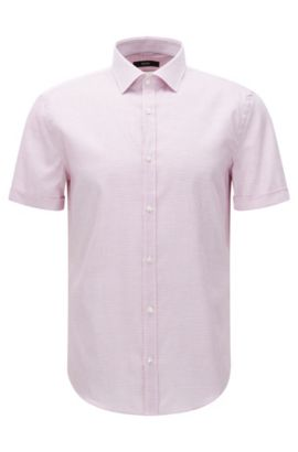 Slim-fit short-sleeved shirt in textured cotton: 'Jats', Open Pink