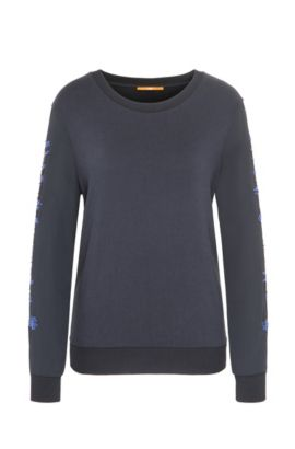 Regular-Fit Pullover aus elastischem French Terry, Dunkelblau