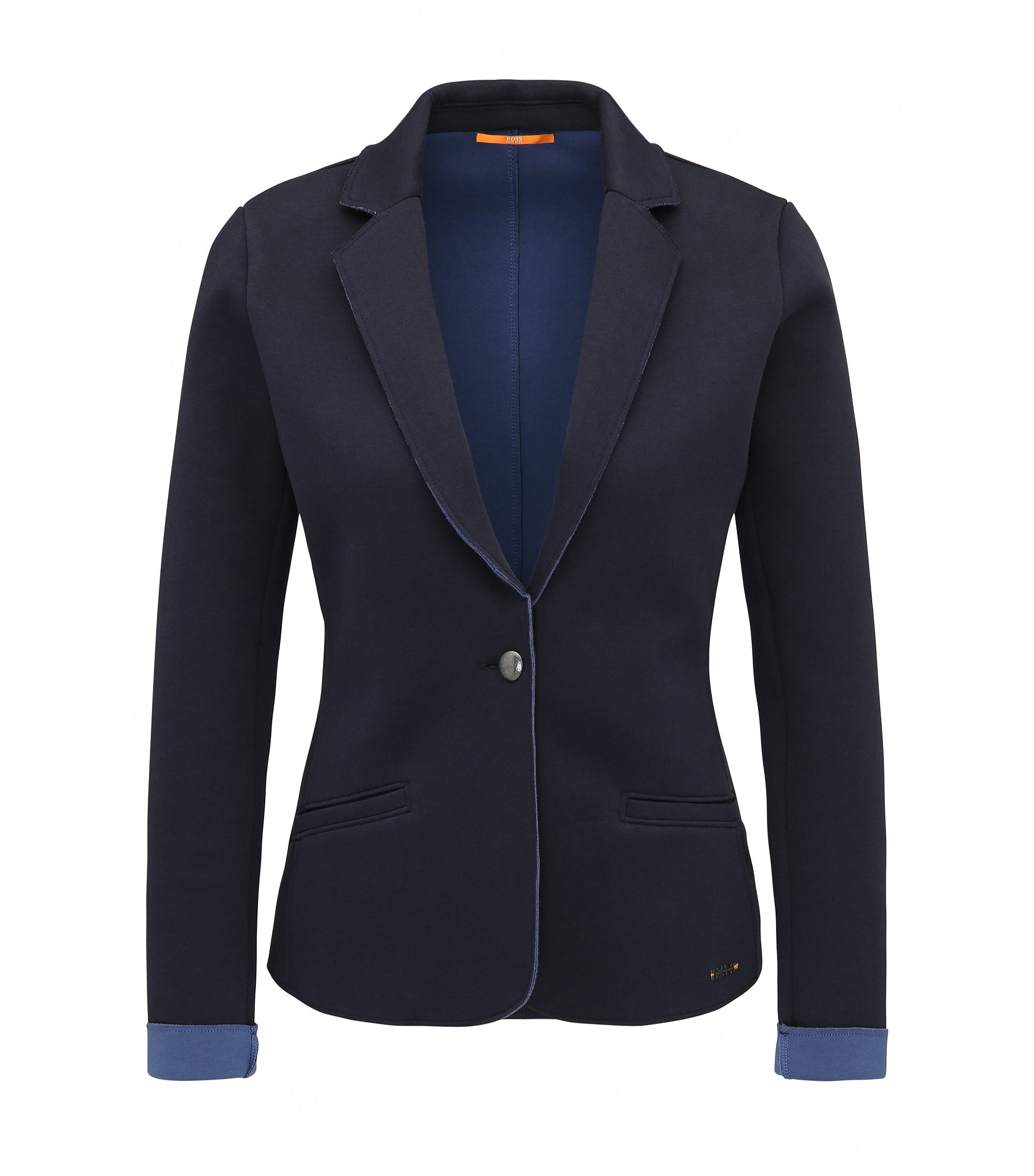 Slim-fit jacket in bonded single jersey, Dark Blue