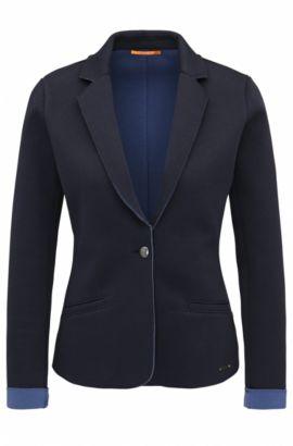 Slim-Fit Blazer aus gebondetem Single-Jersey, Dunkelblau