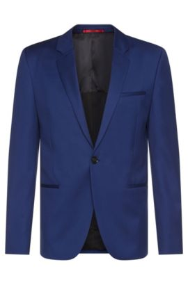 Slim-fit jacket in new wool with mesh lining: 'Alisey', Blue