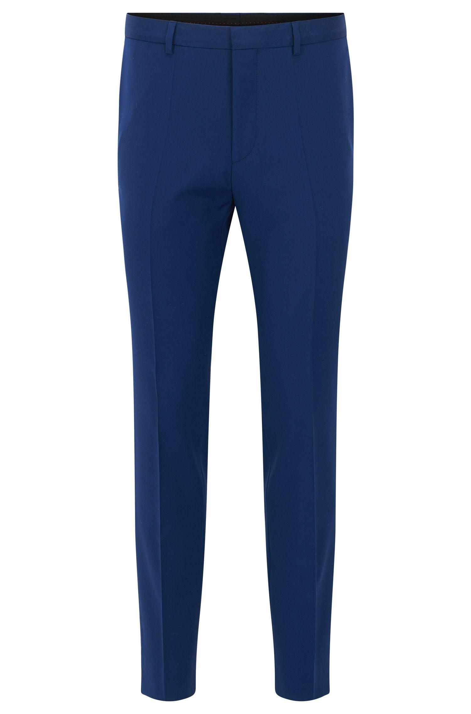 Slim-Fit Hose aus Schurwolle mit Bügelfalten: 'Henrald'