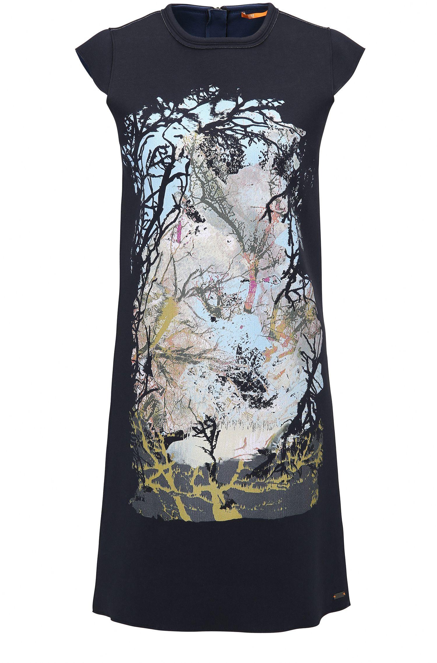 Gebondetes Jersey-Kleid mit Natur-Print