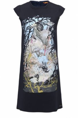 Bonded cotton jersey dress with nature-inspired print, Dark Blue