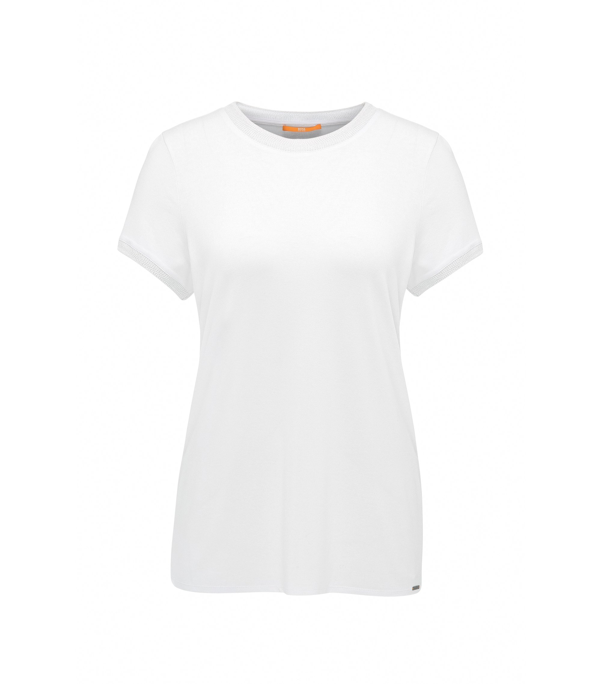 Regular-Fit T-Shirt aus elastischem Single Jersey, Weiß