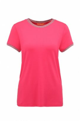 T-shirt regular fit in jersey singolo elasticizzato, Rosa