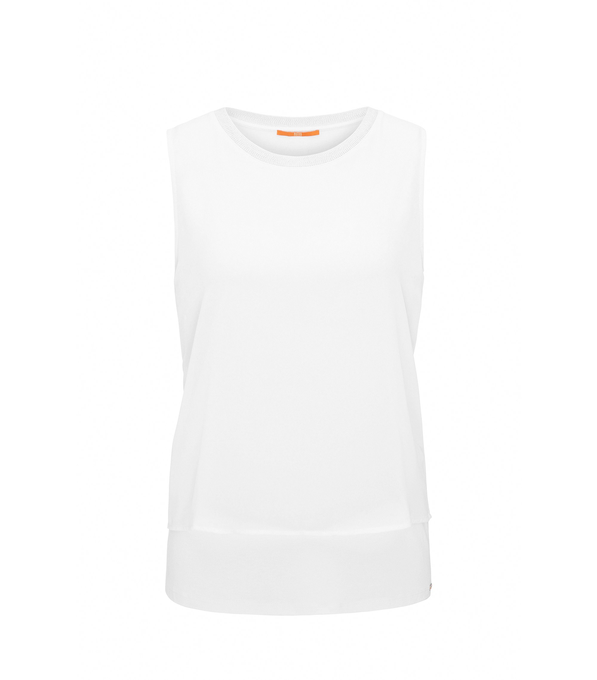 Top senza maniche regular fit in jersey elasticizzato, Bianco