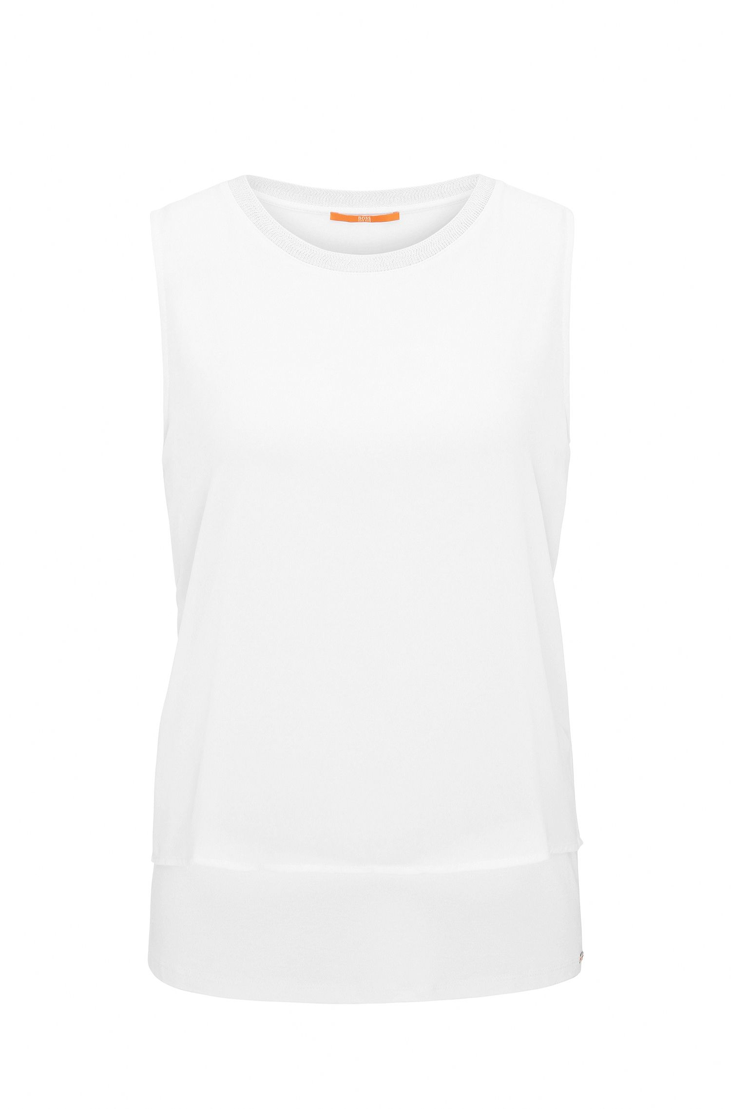 Regular-fit sleeveless top in stretch jersey