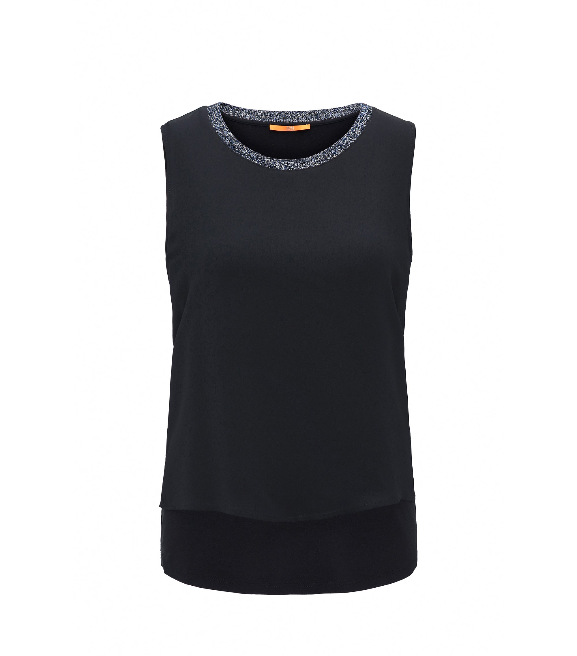 Ärmelloses Regular-Fit Top aus Stretch-Jersey, Dunkelblau