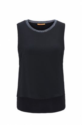 Mouwloze regular-fit top van jersey met stretch, Donkerblauw
