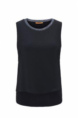 Regular-fit sleeveless top in stretch jersey, Dark Blue