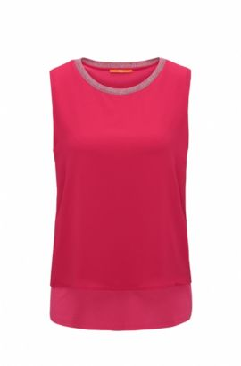 Top sin mangas regular fit en punto elástico, Pink