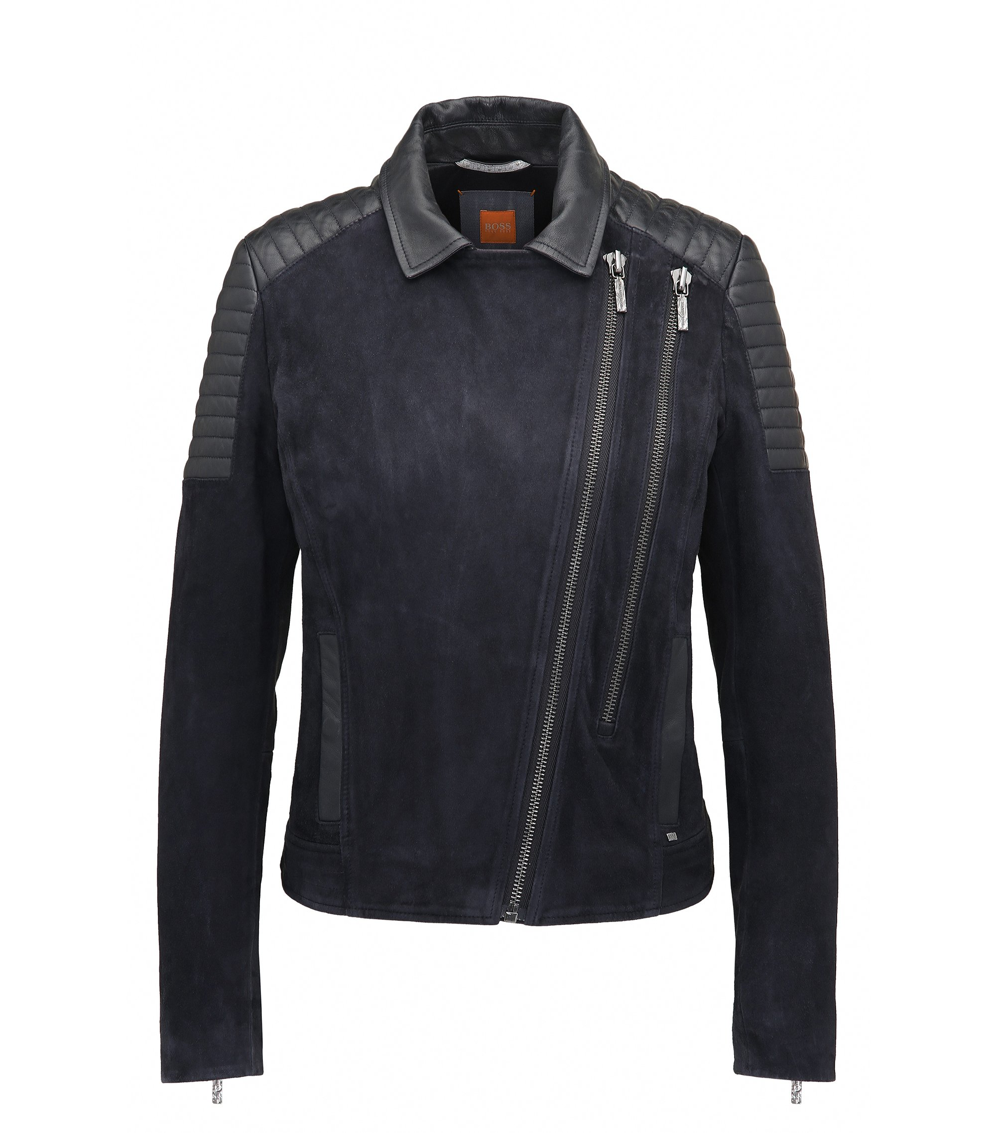 Slim-fit biker jacket in double-face suede, Dark Blue