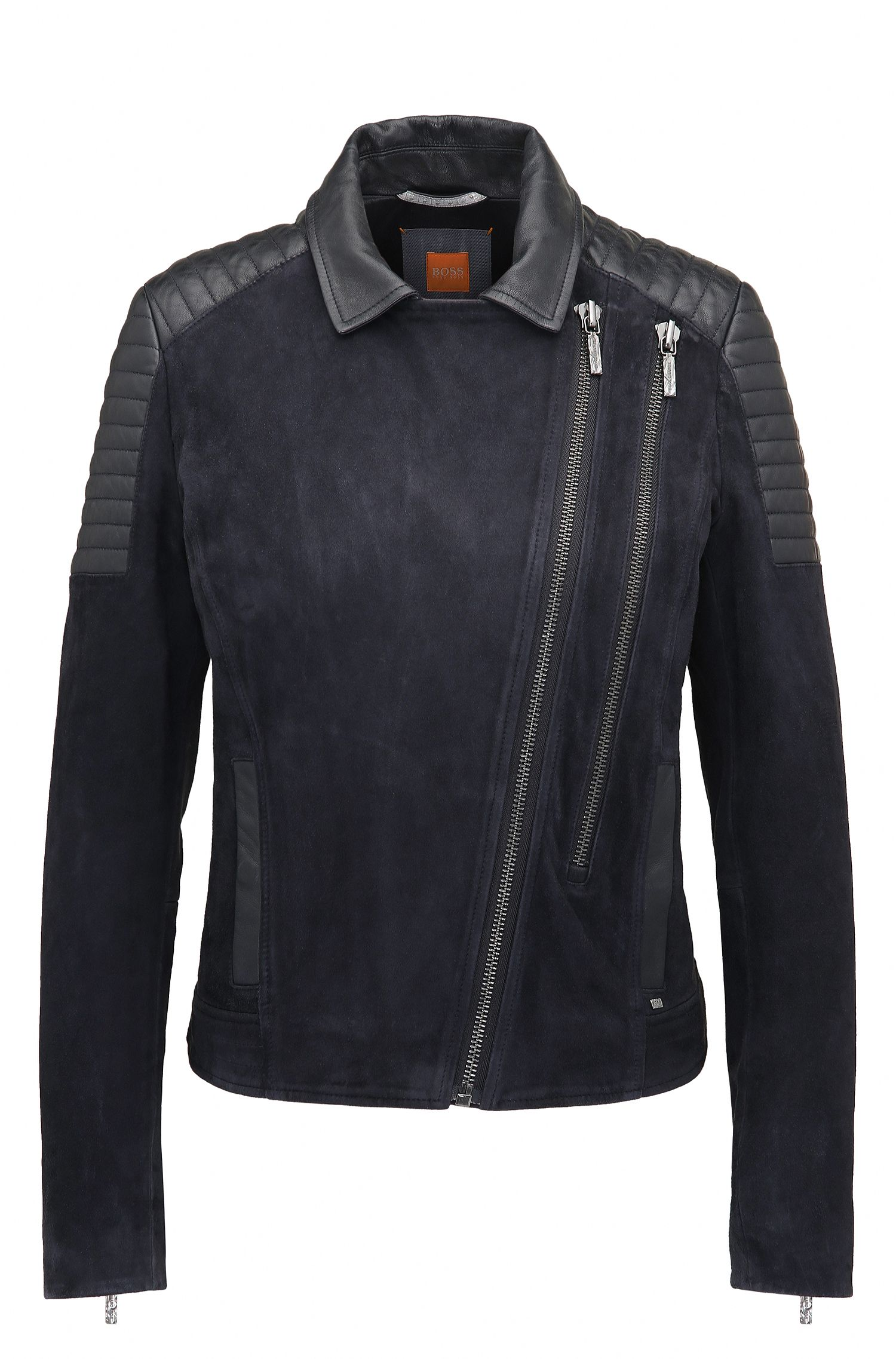 Giubbotto biker slim fit in pelle scamosciata double-face