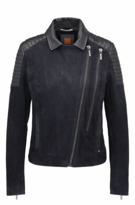 Giubbotto biker slim fit in pelle scamosciata double-face, Blu scuro