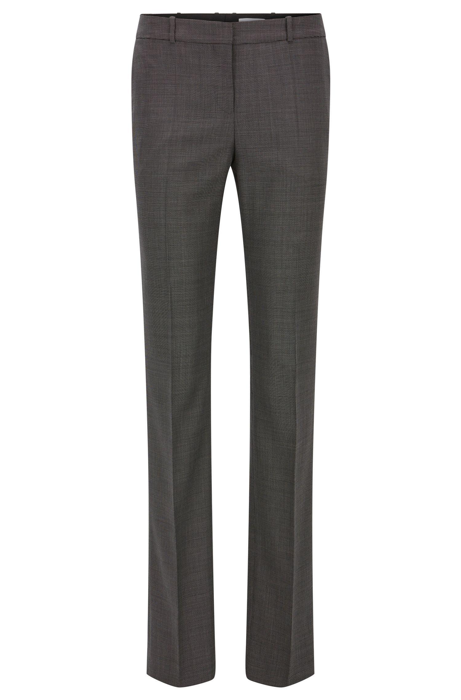 Pantalones regular fit en lana virgen elástica