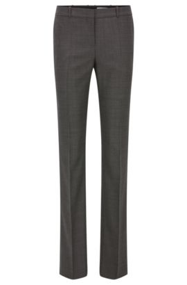 Regular-fit trousers in stretch virgin wool, Patterned