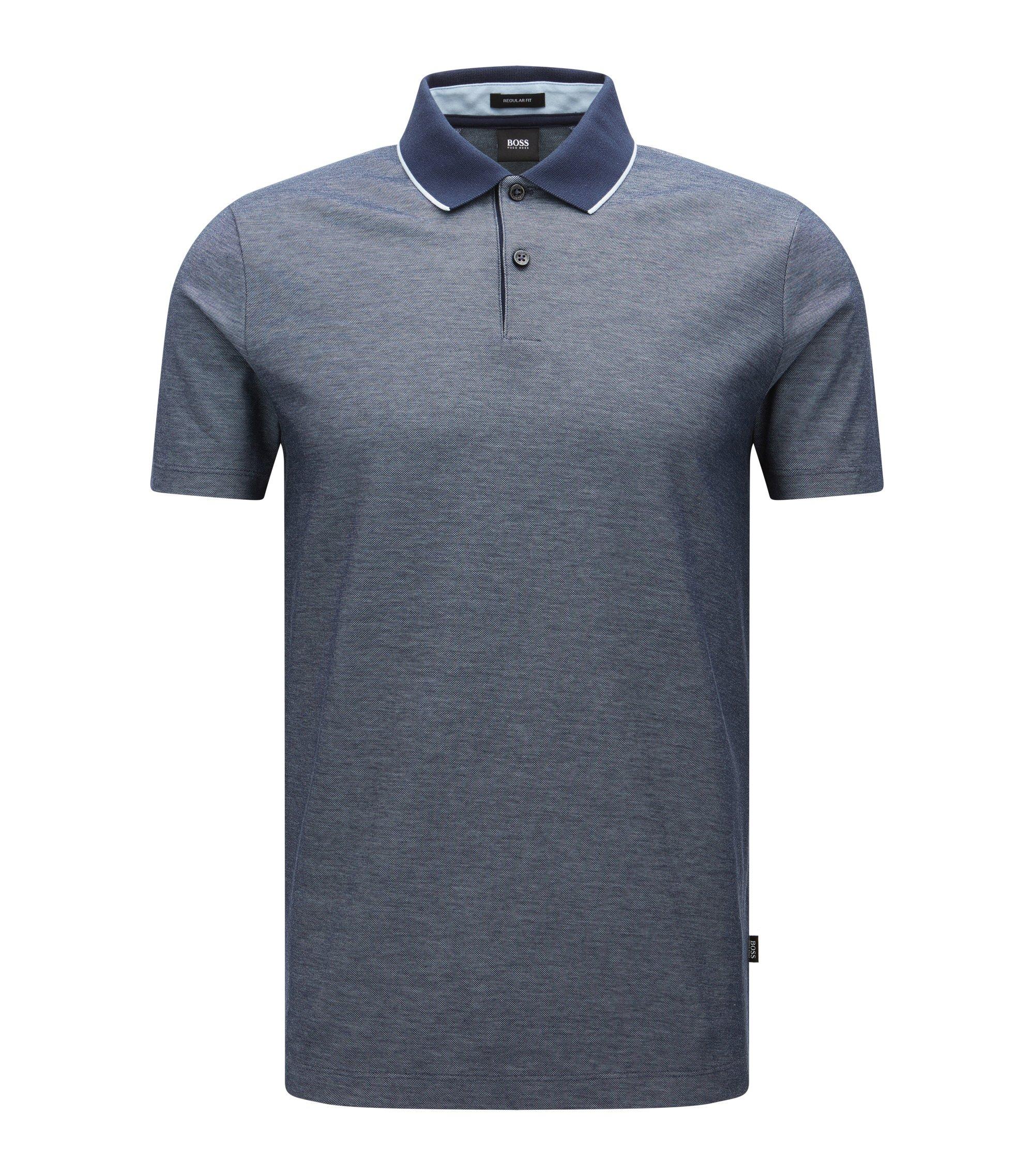 Regular-Fit Poloshirt aus melierter Baumwolle, Dunkelblau