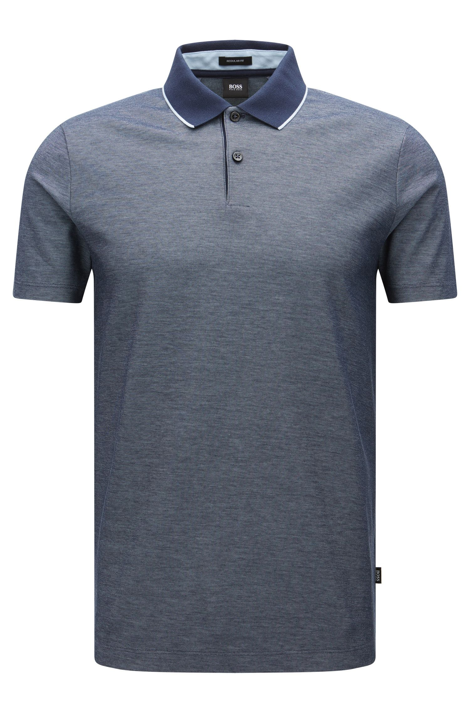 Regular-fit cotton polo shirt in two-tone fabric