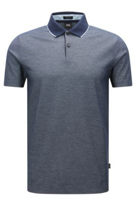 Regular-fit cotton polo shirt in two-tone fabric, Dark Blue