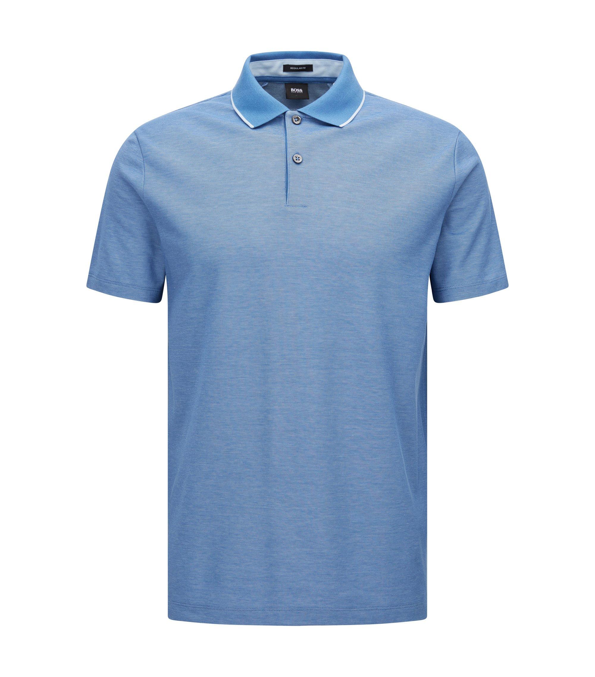Regular-Fit Poloshirt aus melierter Baumwolle, Blau