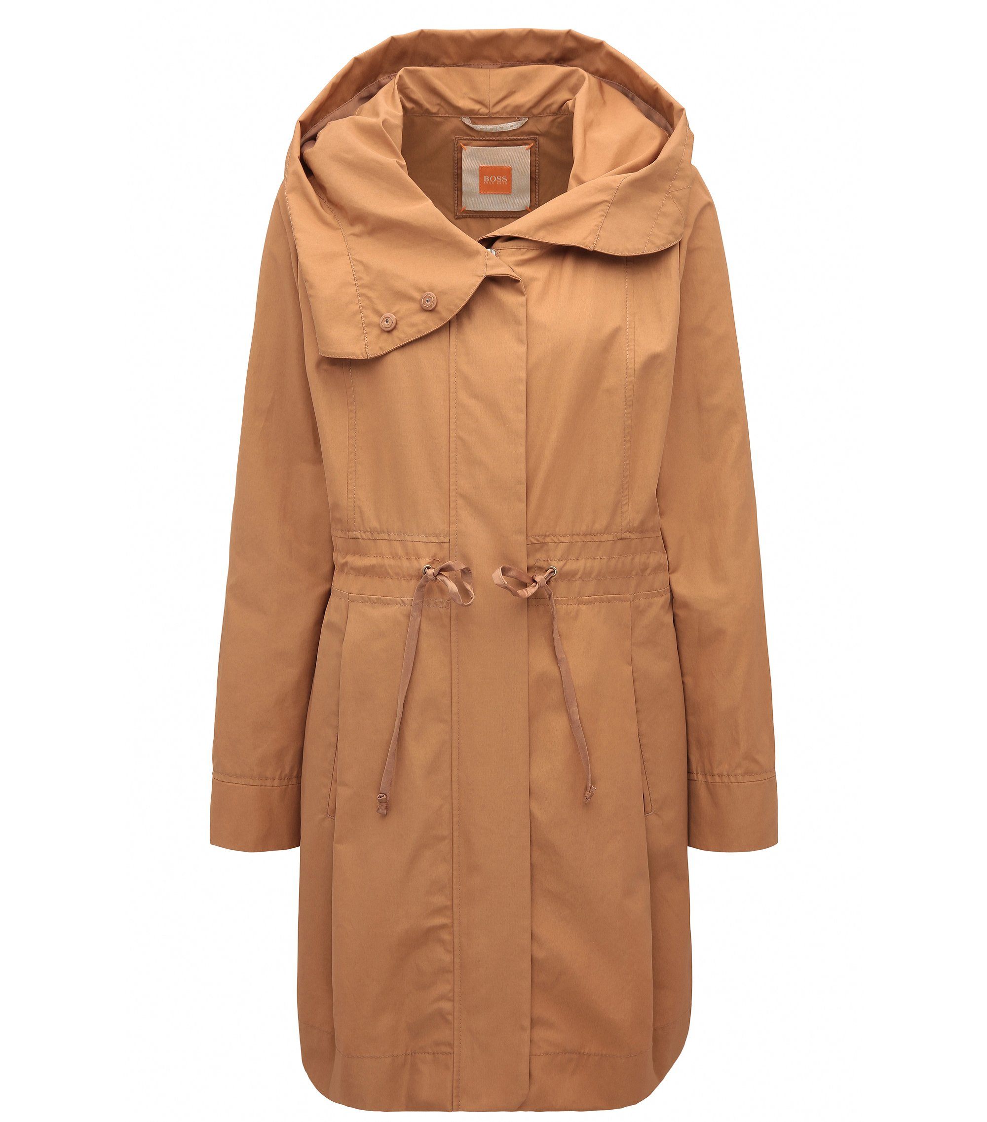 Regular-fit cotton blend parka jacket, Light Brown