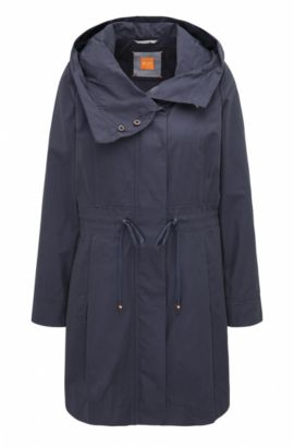 Regular-fit cotton blend parka jacket, Dark Blue
