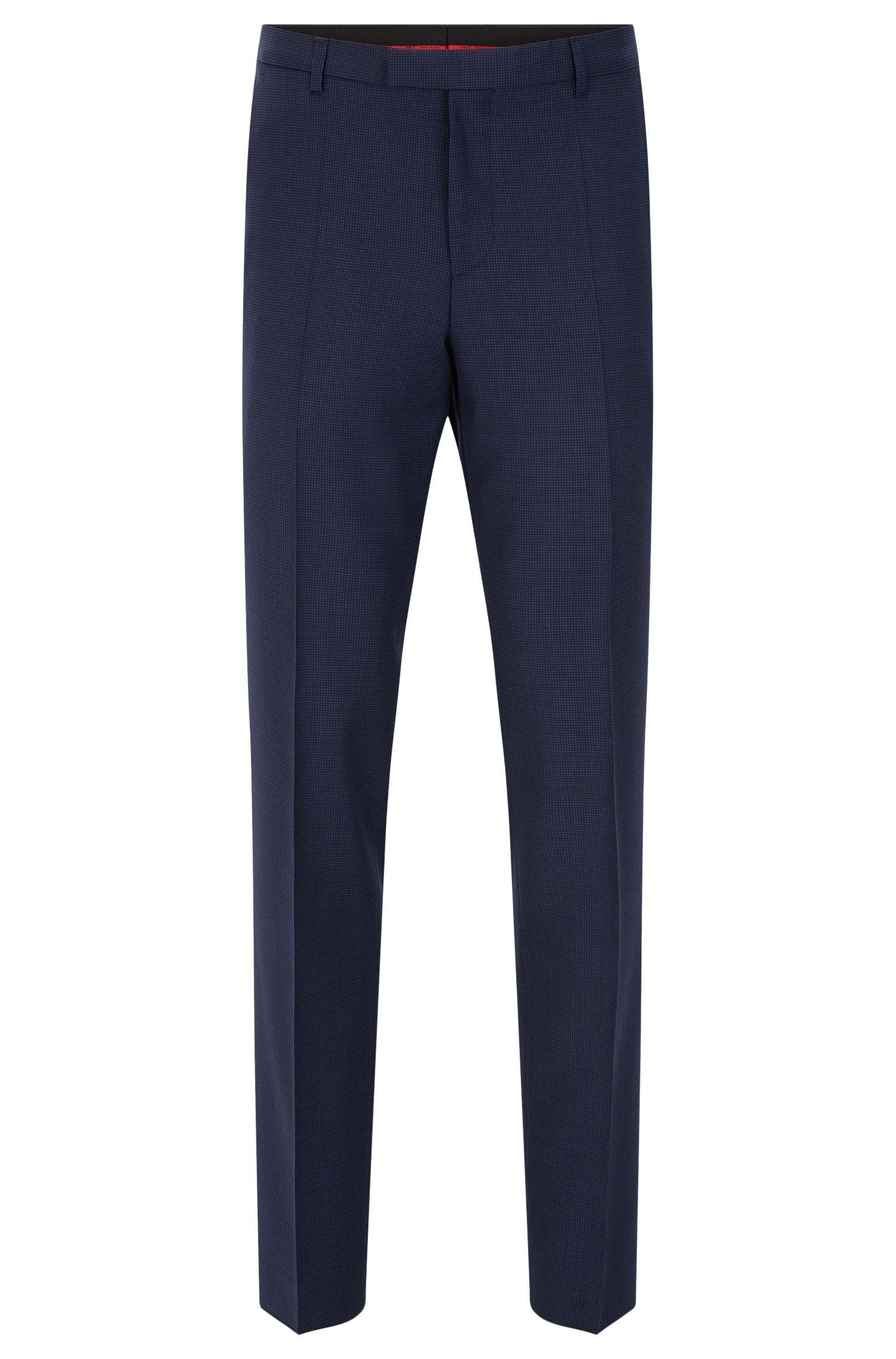 Regular-fit pantalon van scheerwol in een fijn dessin: 'C-Sharp1'