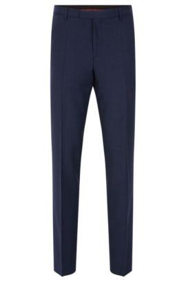 Regular-fit pantalon van scheerwol in een fijn dessin: 'C-Sharp1', Donkerblauw